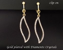 Gold Clip On Earrings with Diamante Crystals, by Dazzlers
