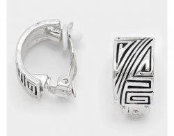 Half Hoop Clip On Earrings Silver Ancient Inca Motif | Dazzlers