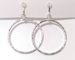 Dangle Clip On Hoops Silver with Textured Finish 30mm