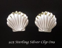 Clip On Earrings, Sterling Silver Shell Design, Button Style