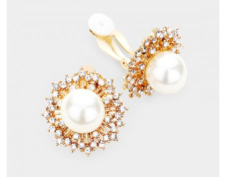 Clip On Pearl Earrings with Stunning Gold and Crystal Pave