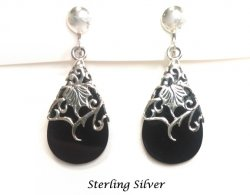 Sterling Silver Clip On Earrings with Black Onyx