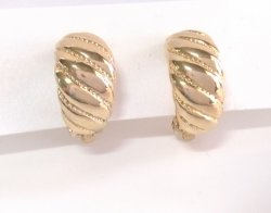 Gold Clip On Earrings Button Style Ornate Design