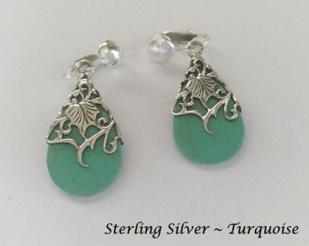 Sterling Silver Filgree Clip On Earrings with Turquoise
