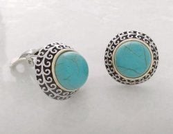 Classy Retro Button Style Clip On Earrings, Faux Turquoise Gems