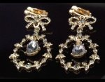 Fashion Clip On Earrings, Retro, Gold Plated with Grey Crystals