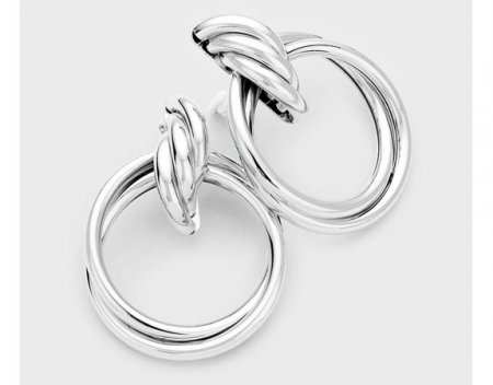 **Extra Large** Silver Clip On Hoop Earrings Twisted Knot Design
