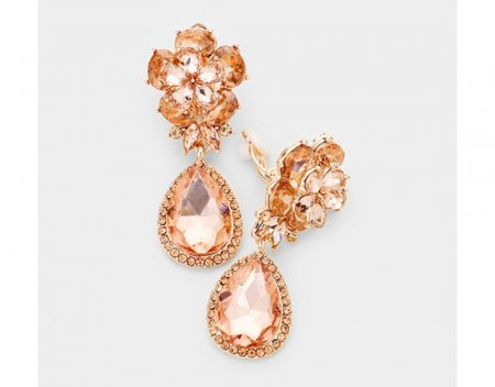 Rose Gold Clip On Earrings with Gorgeous Peach Crystals