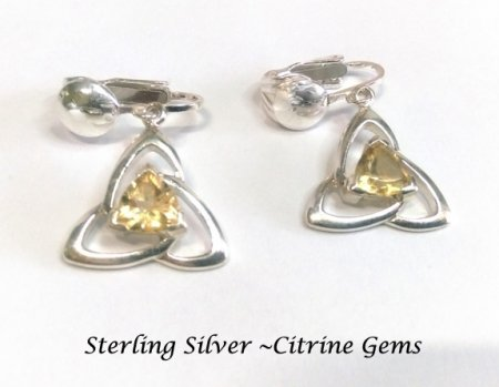 Sterling Silver Clip On Earrings Celtic Knot Design Citrine Gems
