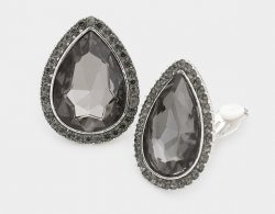 Teardrop Black Crystal Clip On Earrings with Pave