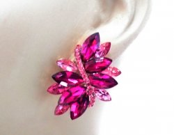 Fabulous Fuchsia Crystal Statement Earrings with Pave