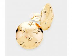 Gold Clip On Earrings Stars on Round Domed Discs