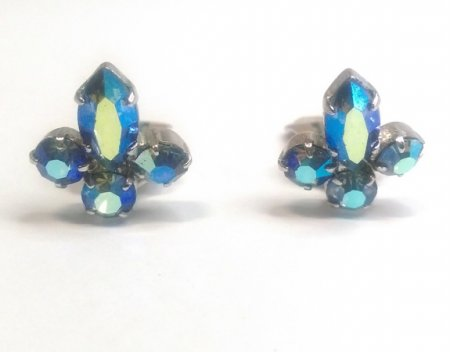 Petite Clip On Crystal Earrings Stud Style Blue AB Crystals