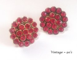 Large Authentic 90's Vintage Clip On Earrings with Red Crystals