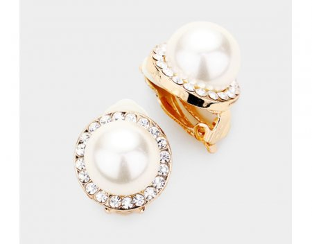 Pearl Clip On Earrings Petite Size with Dazzling Crystals