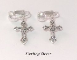 Crucifix Sterling Silver Clip On Earrings