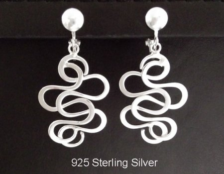 Clip On Earrings, Classy Sterling Silver Clip-On Earrings
