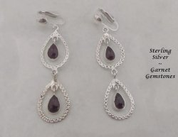 Sterling Silver Clip On Earrings, Garnet Gemstones | Dazzlers