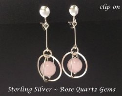 Clip On Earrings, Rose Quartz, Sterling Silver, Artisan Crafted