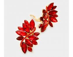 Clip On Crystal Earrings with Gorgeous Red Marquise Crystal