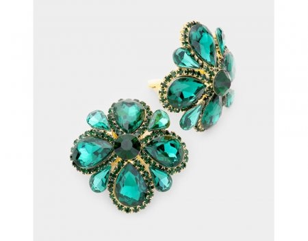 Large Crystal Clip On Earrings Emerald Green Flower Design