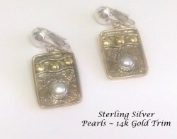 Sterling Silver Clip On Earrings with Pearl and 14k Gold Trim