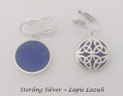 Dangle Clip On Earrings Sterling Silver with Lapis Lazuli