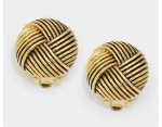 Antique Style Gold Clip On Earrings, Round Knots Design