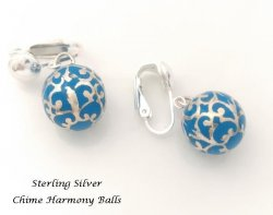 Harmony Ball Filigree Sterling Silver Clip On Earrings, Blue