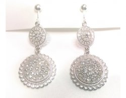 Clip On Dangle Earrings with Crystals 2 Tier