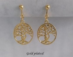 Tree of Life Clip On Earrings, Gold | Dazzlers Clip-on Earrings