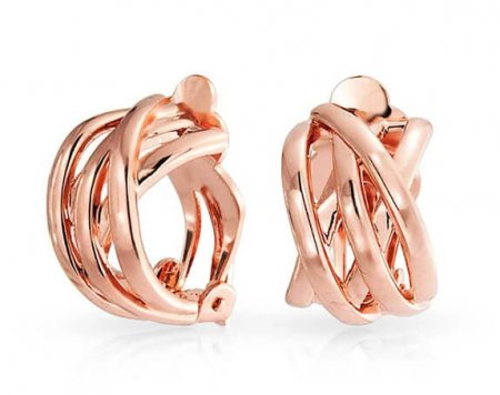 Clip On Earrings, Rose Gold Toned Half Hoop Clip-on Earrings