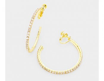 Classy Open Hoop Clip On Earrings Gold, Crystals, Screwback