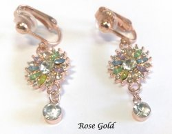 Rose Gold Clip On Earrings with Stunning Coloured Crystals
