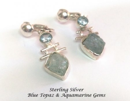 Sterling Silver Clip Earrings with Aquamarine & Blue Topaz Gems