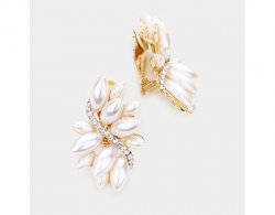 Marquise Style Glamorous Pearl Clip On Earrings Large