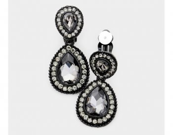 Stunning Clip On Black Crystal Earrings with Clear Pave