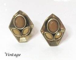 Genuine Vintage Clip On Earrings Faux Gems Burnished Gold