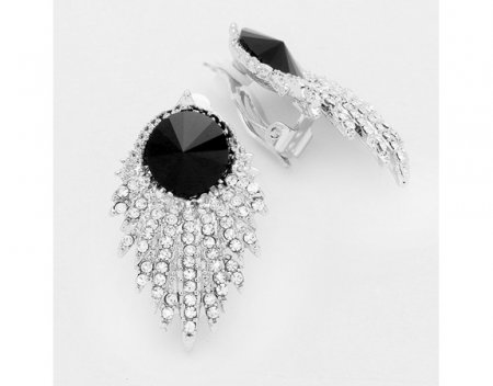 Spectacular Classy Crystal Clip On Earrings Black and Clear