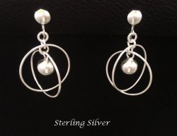Clip On Earrings with Large Swivelling Rings in Sterling Silver