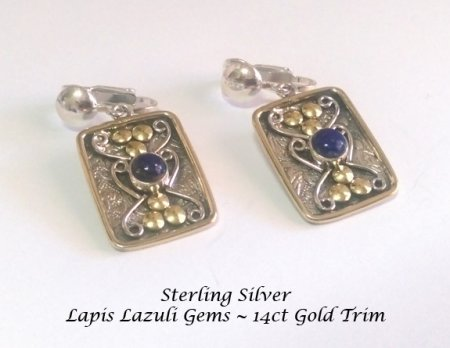 Clip on Sterling Silver Earrings Lapis Lazuli Gems 14K Gold Trim