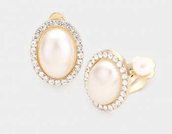 Pearl Clip On Earrings Gold with Dazzling Crystal Pave