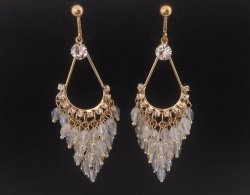 Clip On Earrings, Chandelier, CZ, Clear Crystals | Dazzlers