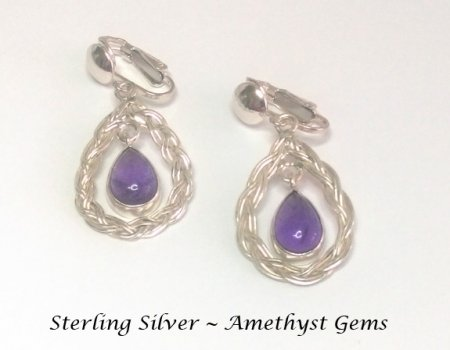 Sterling Silver Clip On Earrings with Amethyst Gemstones