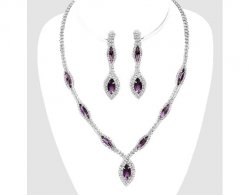 Set, Purple Crystal Clip On Earrings & Necklace, Evening, Bridal