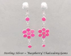 Chandelier Clip On Earrings with Raspberry Chalcedony Gems