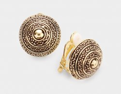 Gold Antique Textured Button Clip On Earrings from Dazzlers