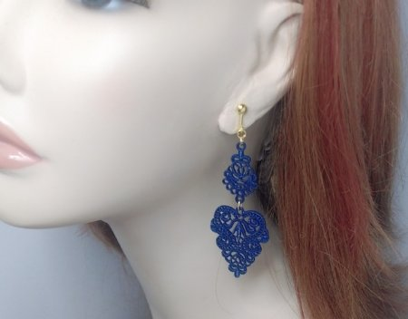 Clip On Drop Earrings Metal Filigree Navy Blue Enamled