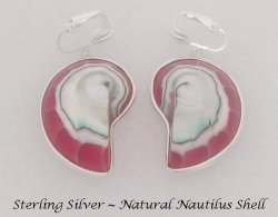 Sterling Silver Clip On Earrings, Nautilus Shell,Artisan Crafted