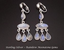 Sterling Silver Clip On Chandelier Earrings, Rainbow Moonstones